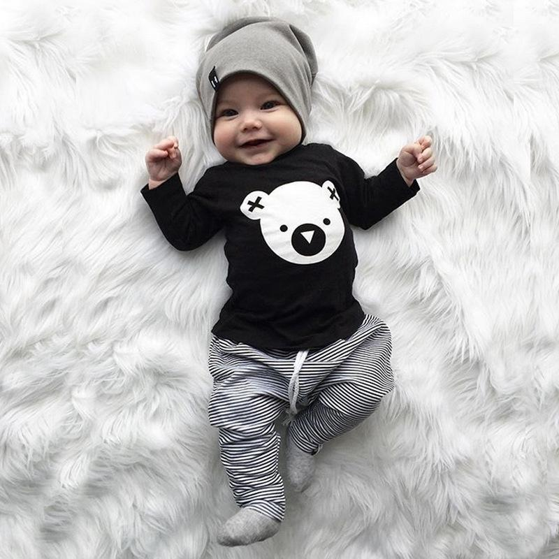 2-piece Baby Cute Bear Cotton Suit