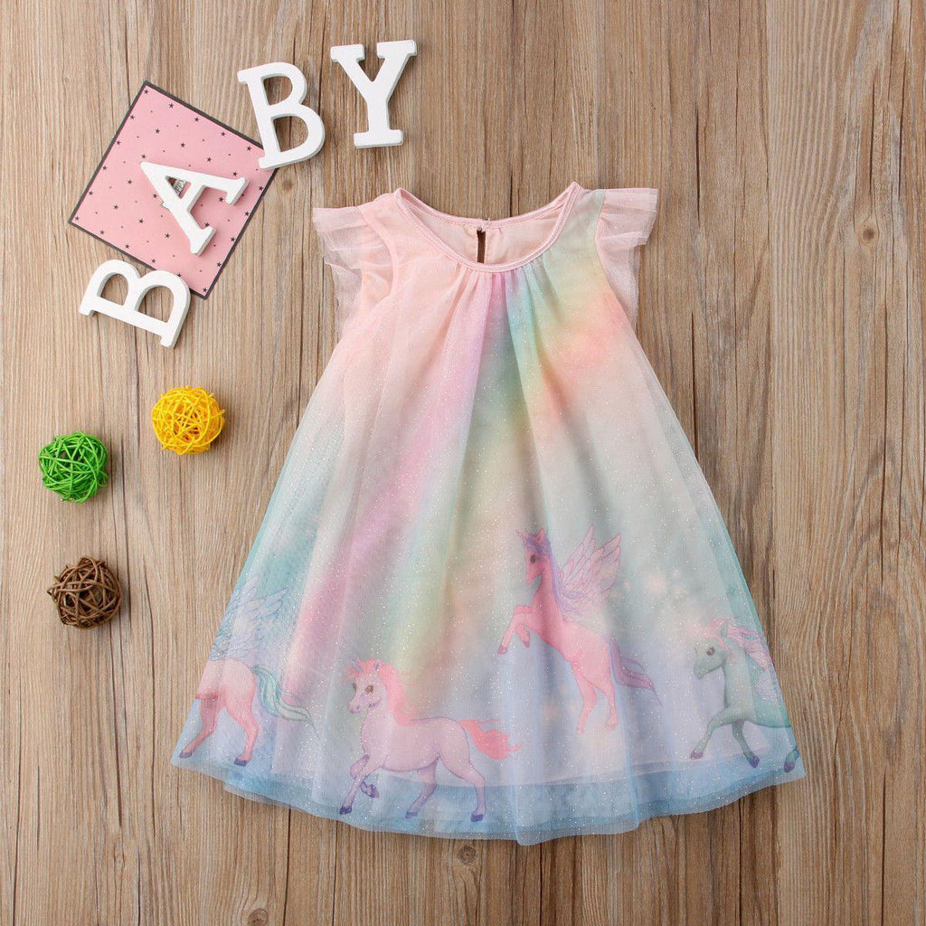 Little tianma unicorn printed skirt printed skirt for children