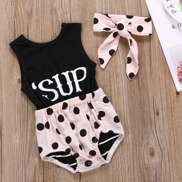 2-piece summer baby girl alphabet dot romper with hairband