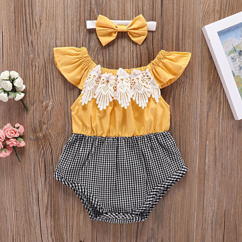 2-piece baby flying sleeve triangle stitching Romper with hairband