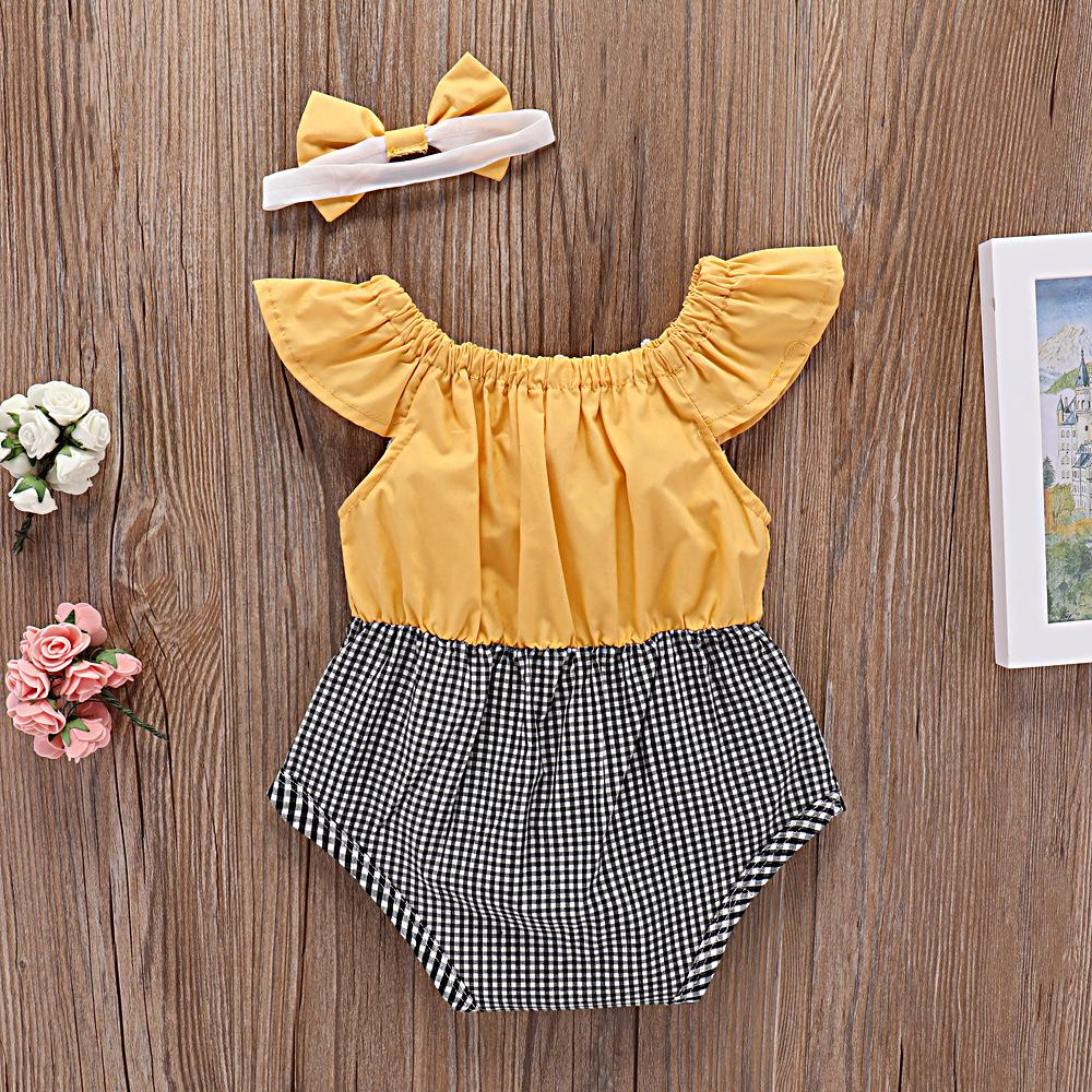2-piece baby flying sleeve Romper with hairband