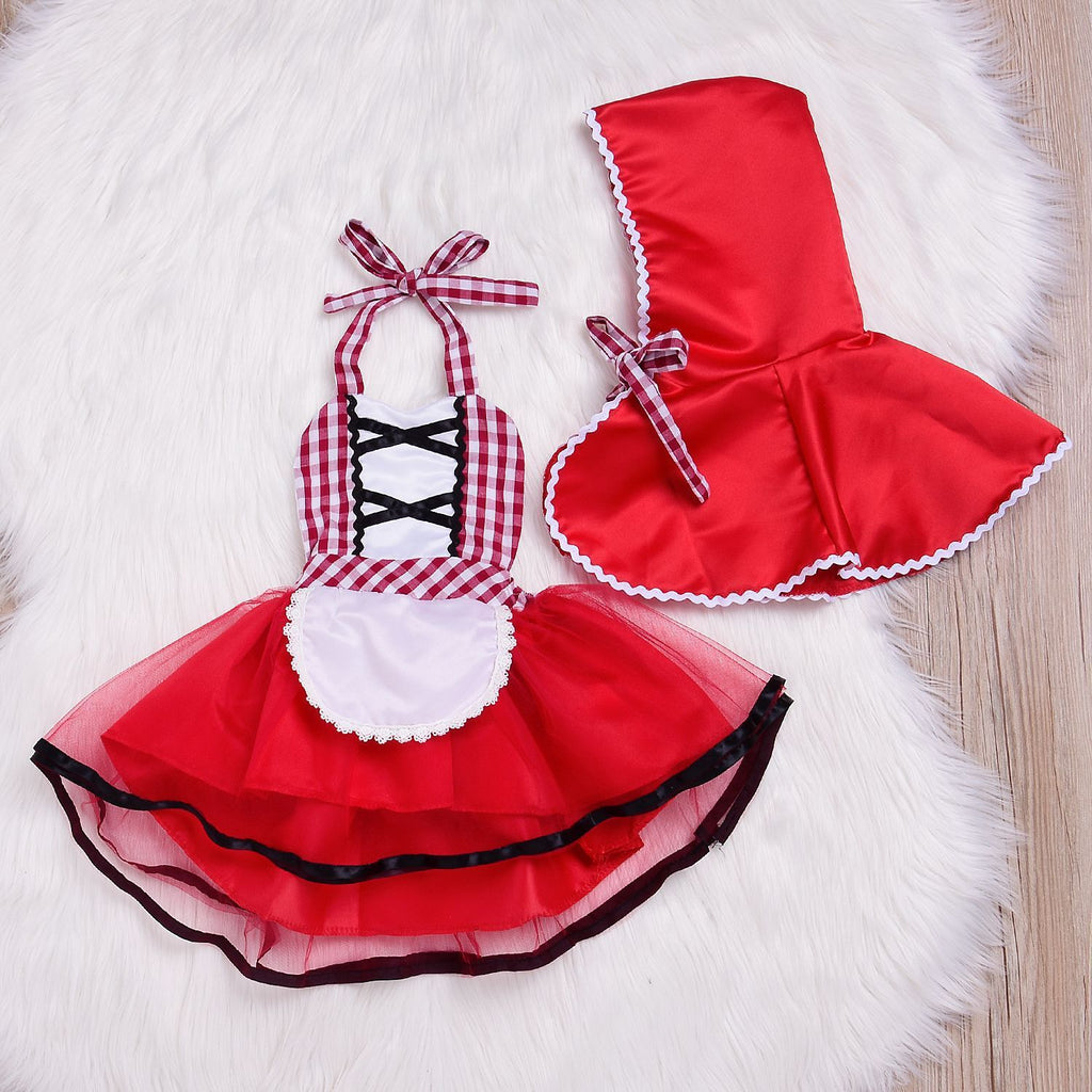 2-Piece Girl Cloak Plaid Little Red Hood Maid Skirt