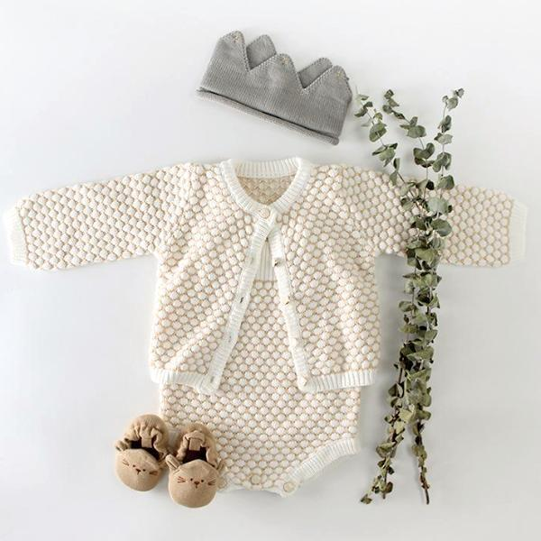 2-piece baby set cardigan coat + baby khaki crawl suit