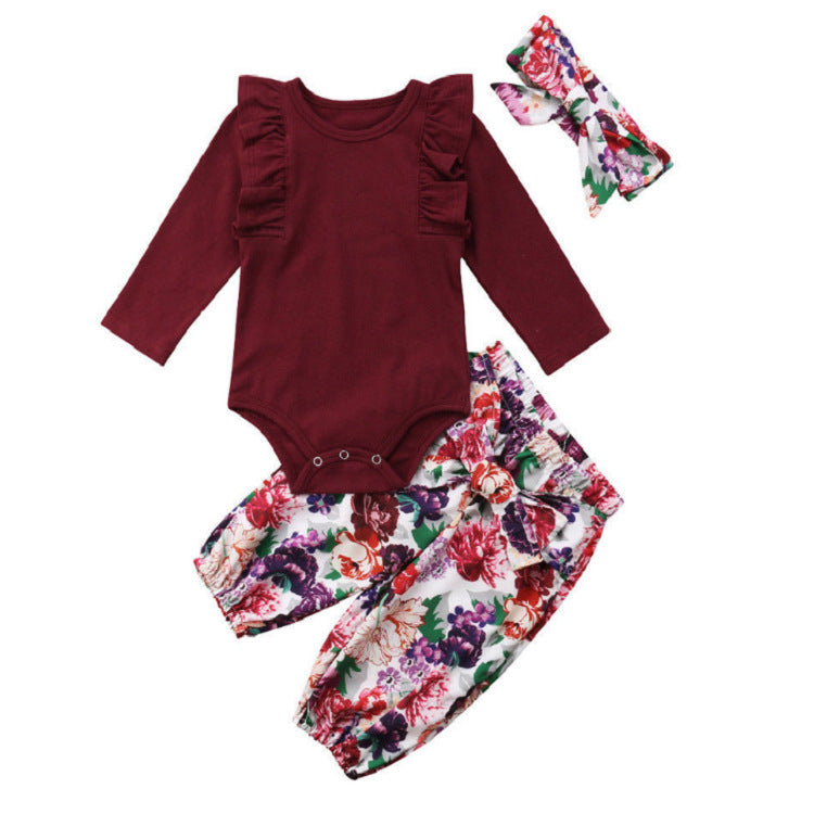 3-piece Cute Baby Girls Cotton Tops Romper Floral Pants