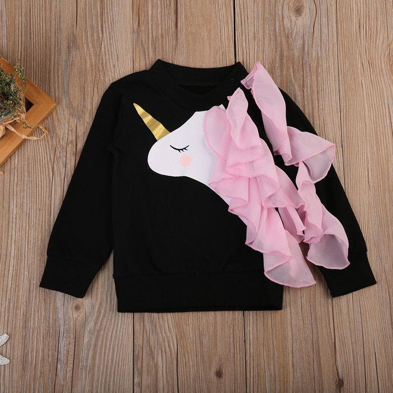 Cartoon unicorn print hoodie with round neck and long sleeve