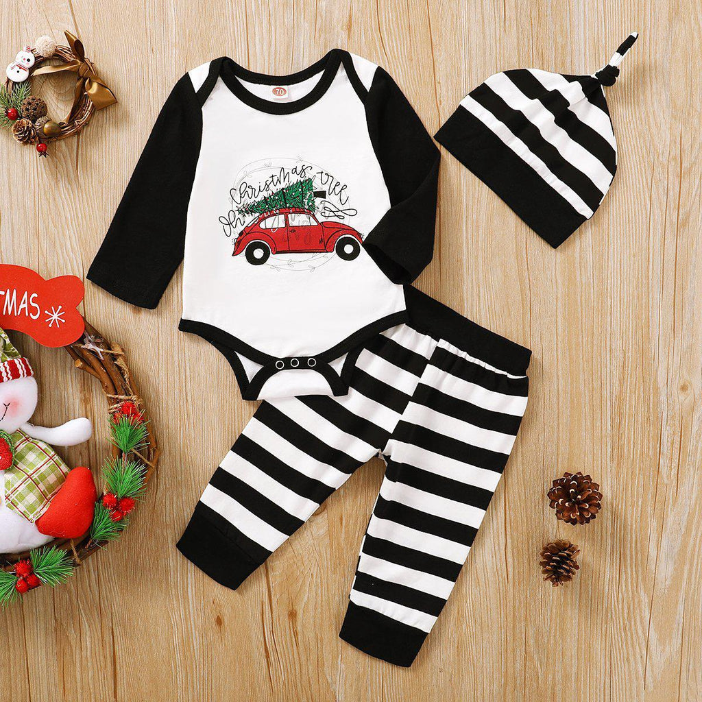 3-Piece Baby Merry Christmas Romper Set