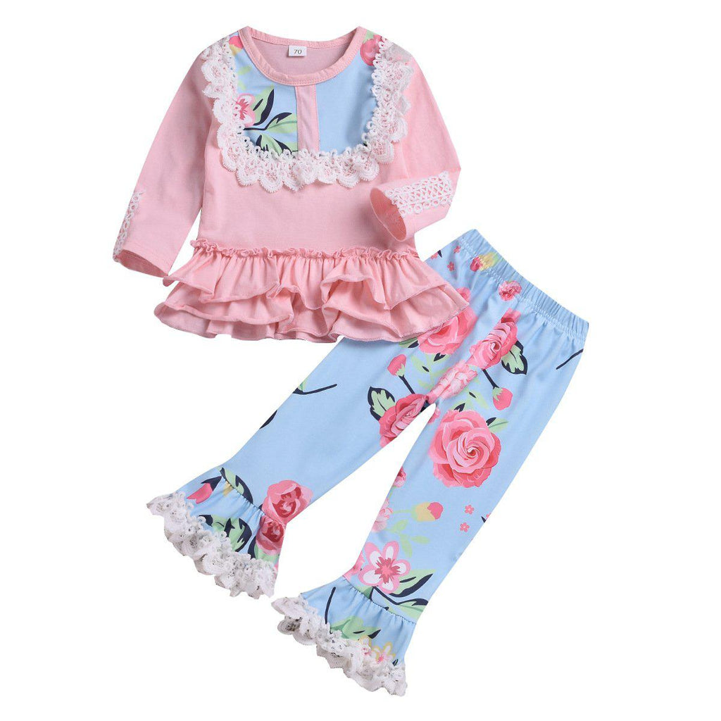Girl Retro Lace Flared Pants Suit