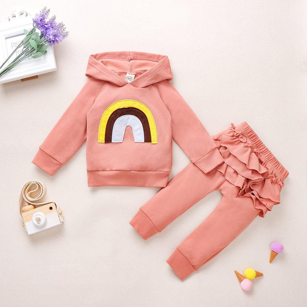 2-Pieces Baby Girl Rainbow Hooded Set