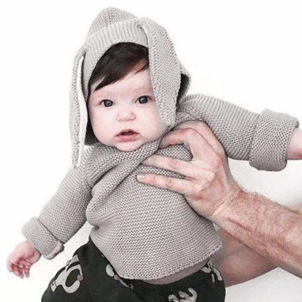 Children and infants cotton rabbit ears hooded sweater sweater coat jacket grey