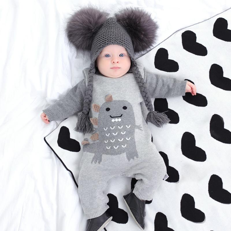 knitted jumpsuit autumn/winter outfit thickened baby long-sleeve crawling suit newborn baby sweater big dinosaur