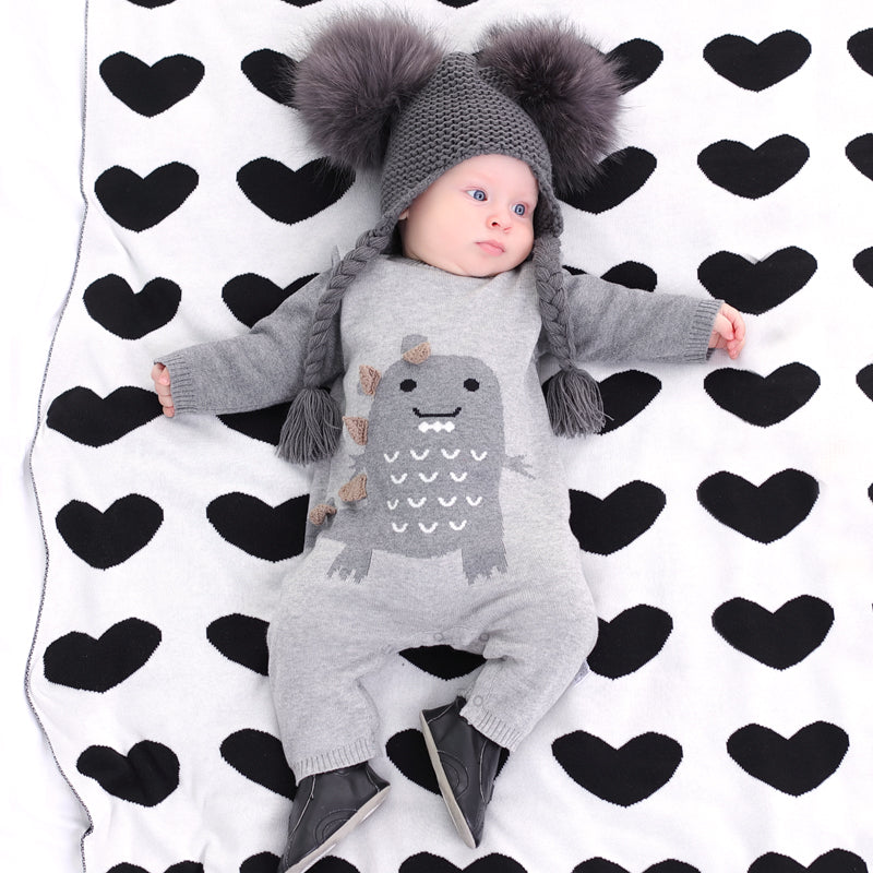 knitted jumpsuit  outfit thickened baby sweater big dinosaur