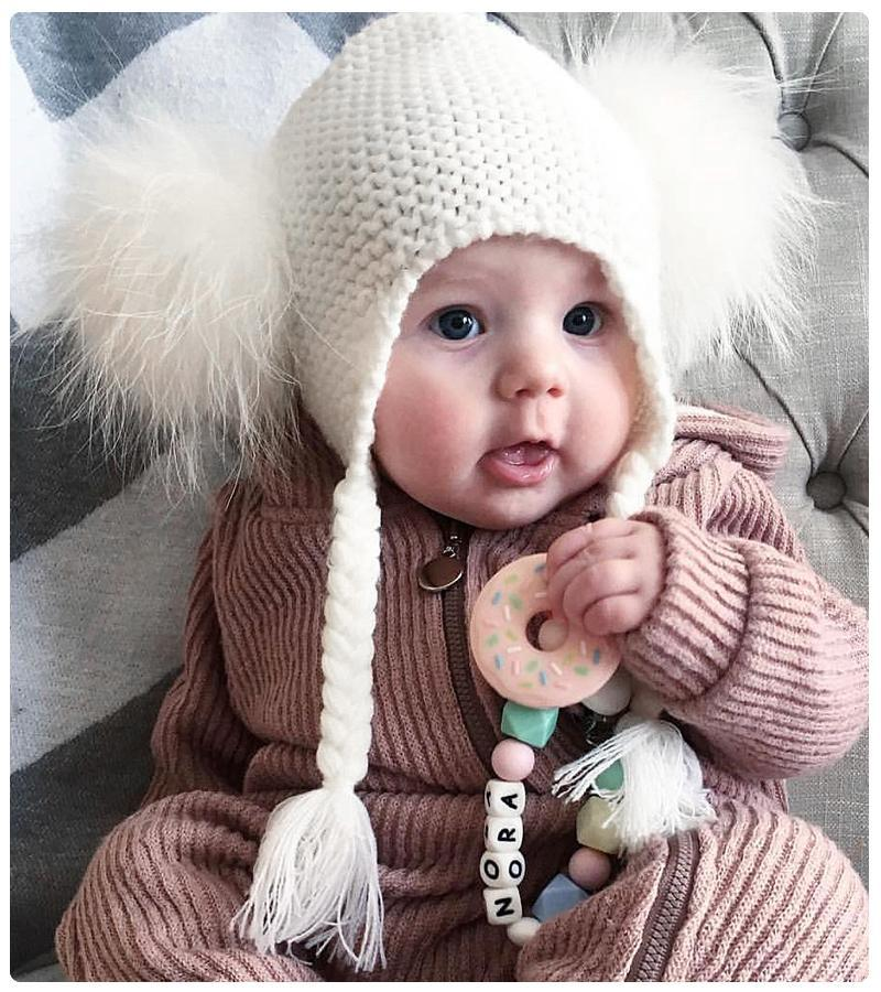 Children raccoon fur cap with two balls to protect ears and twist braid knitted 1-5Y