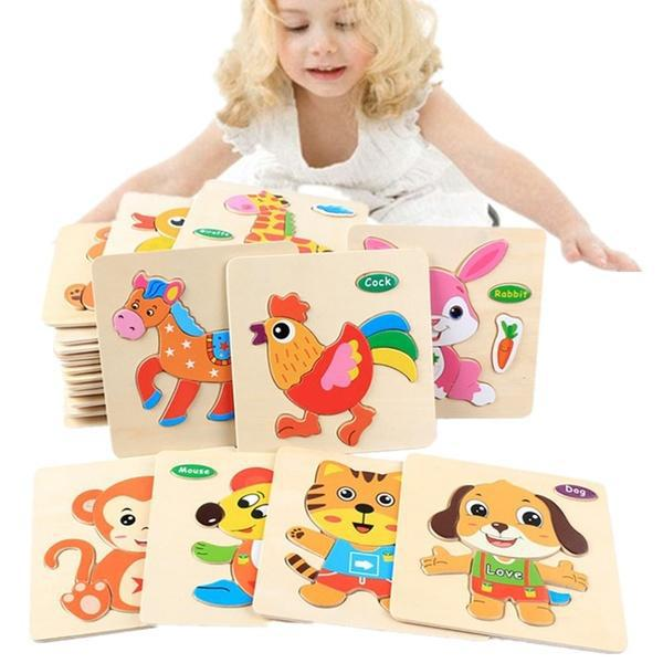 Kids 3D Puzzle Jigsaw Wooden Toys Cartoon Animal Puzzles Intelligence