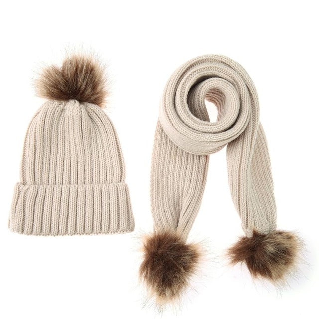 2-piece Winter Warm Baby Hat Scarf Set