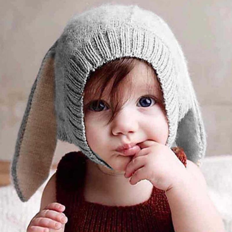 Baby Hat Kids Long Rabbit Ears Knitted Hat Winter Warm Fleece Solid Color Children  Cap Fashion ce8a173df928