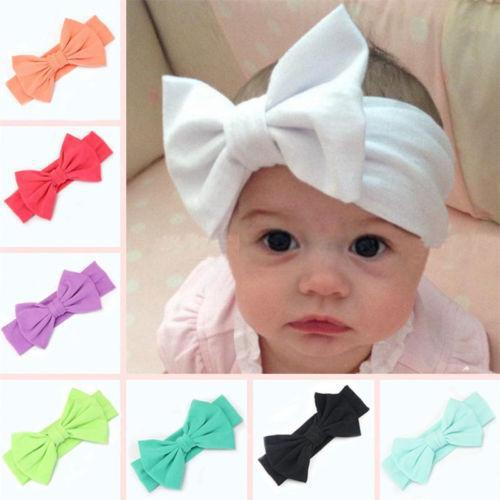 Cotton Toddler Girls Big Bow Headband Hairband