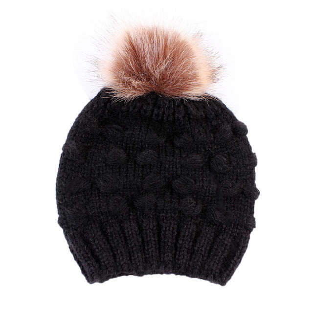 Lovely Winter Parent-child Cap Double Fur Ball Pompon Warm Hats
