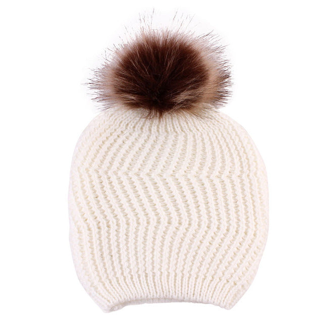 Lovely Winter Parent-child Cap Double Fur Ball Pompon Warm Hats Infant Baby Knitted Fashion Beanies Caps Mother Kids Skullies