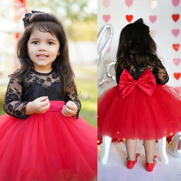 Girls' Big Bow Lace Princess Dress