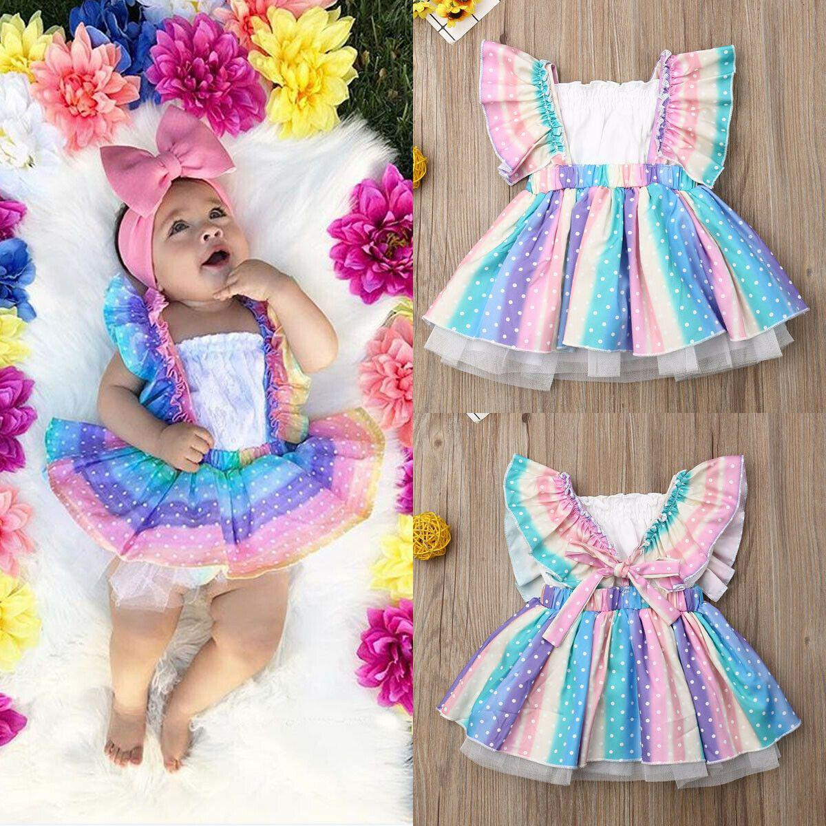 Girls' White Top + Rainbow Skirt Set