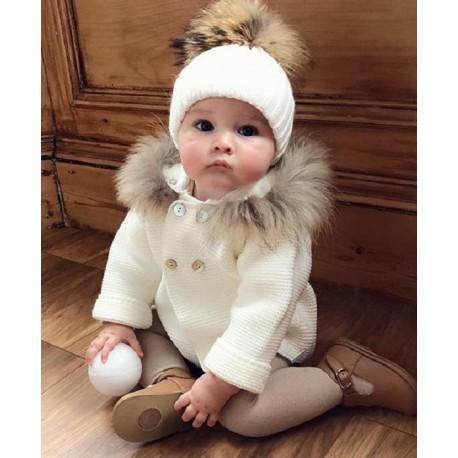 Baby knit sweater coat with hat