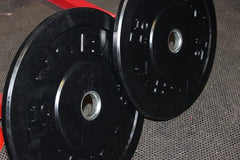 York Barbell Pair of Olympic Black Bumper Plates