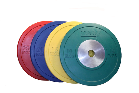 Troy Barbell Competition Bumper Plates in KG (set) or (pairs) Bar not included