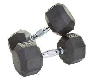 VTX RUBBER HEX DUMBBELLS 5-50LB SET WITH RACK