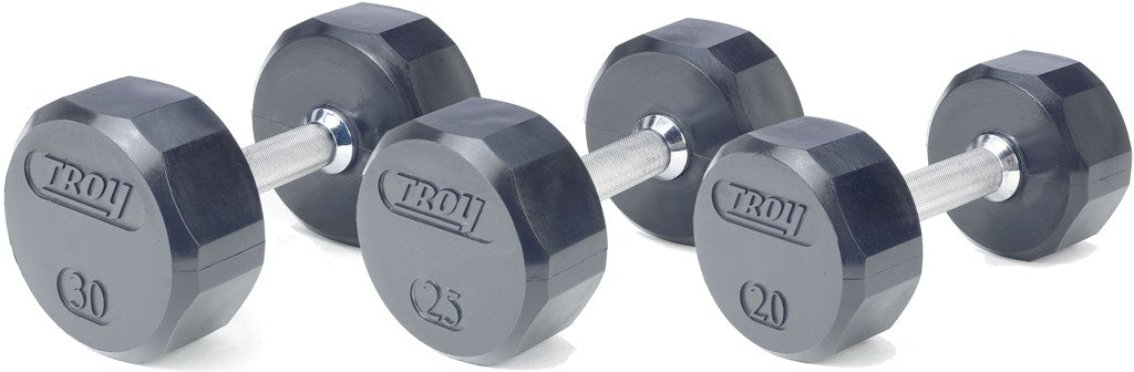 Troy Barbell 12-Sided Rubber Encased Dumbbell 5-100 lbs Set