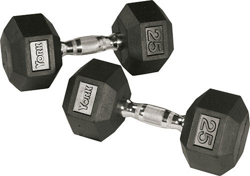 YORK® Rubber Hex Dumbbell Sets Without Racks