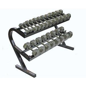 Rack of Hex Dumbbells