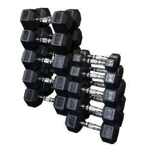 550lb Rubber Hex Dumbbell Set Body Solid 5-50lb in 5lb Increments SDRS550