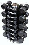 Troy Barbell 596LBS VTX RUBBER HEX DUMBBELLS 3-50LB SET WITH VERTICAL RACK