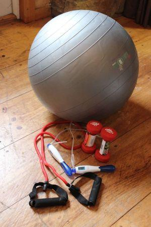 Fitness kit, Body Ball, Digital Jump Rope, Resistance Band, Dumbbells