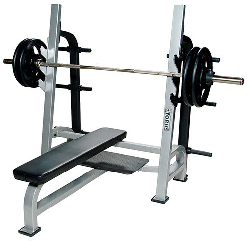 Single Arm Dumbell Bench Press: YORK® Commercial Olympic Flat Barbell Bench Press