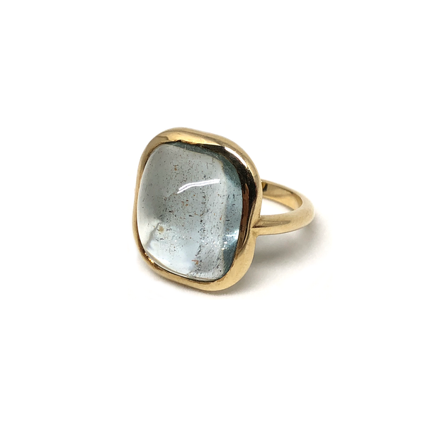 Aquamarine Cab Gemstone Gold Ring