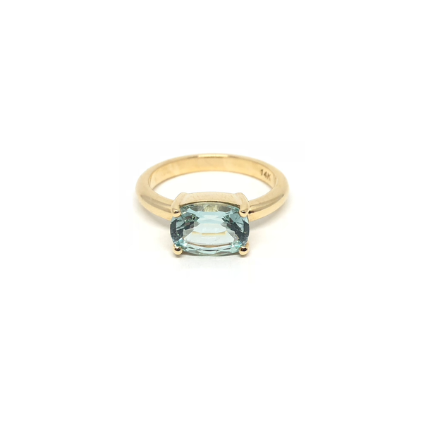 Aquamarine Prong Set Gemstone Gold Ring