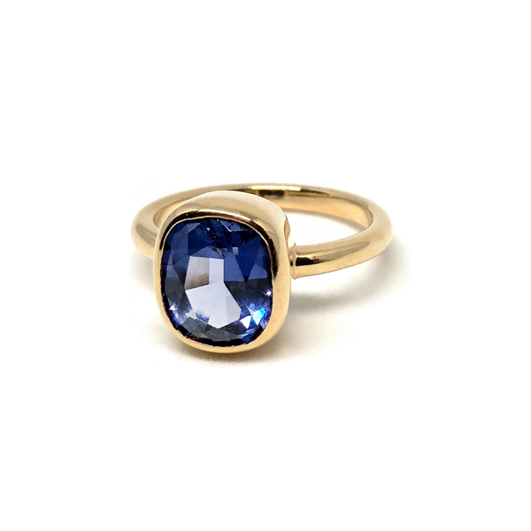 Blue Spinel Gemstone Gold Ring