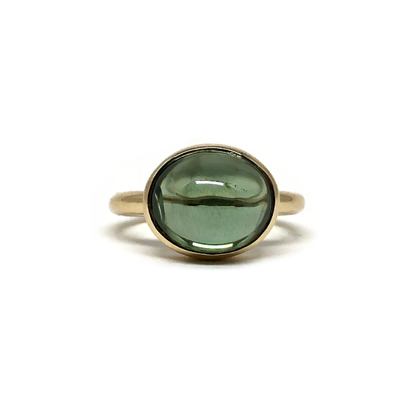 Green Zircon Cab Gemstone Gold Ring