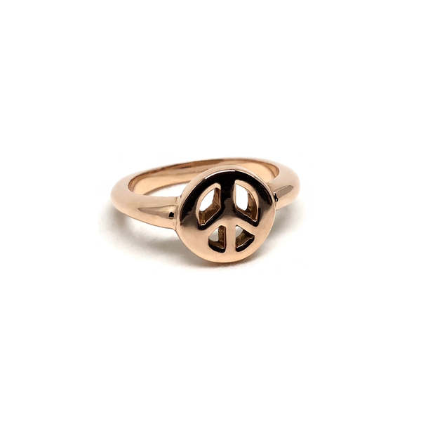 Peace Sign Gold Ring