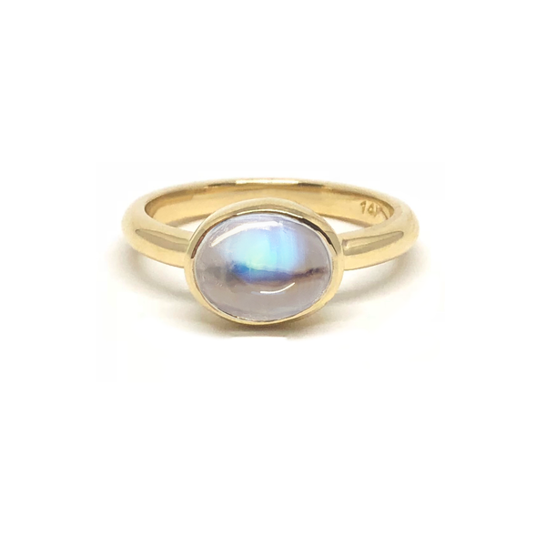 Rainbow Moonstone Gem Gold Ring