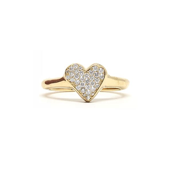 Big Heart Diamond Gold Ring