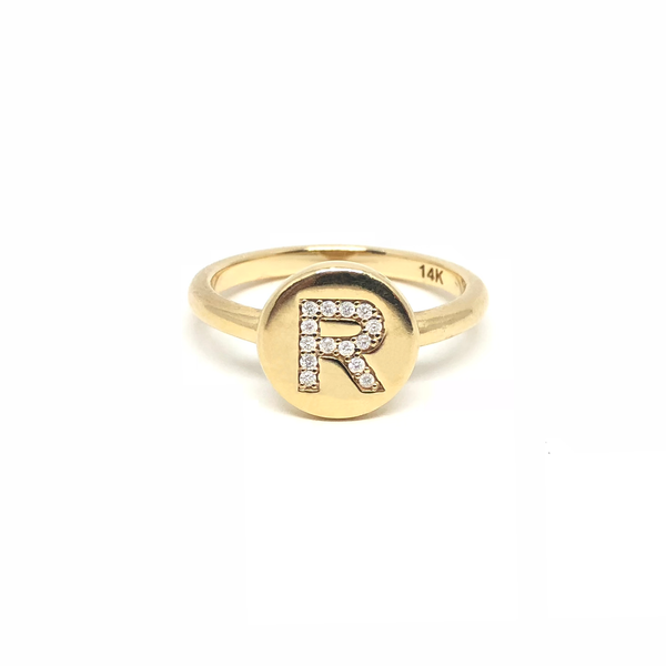 Initial Gold Diamond Ring