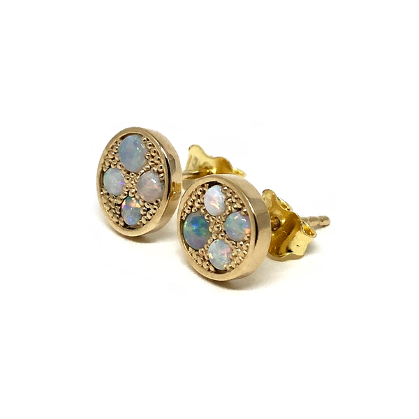 Gold Opal Gemstone Earrings