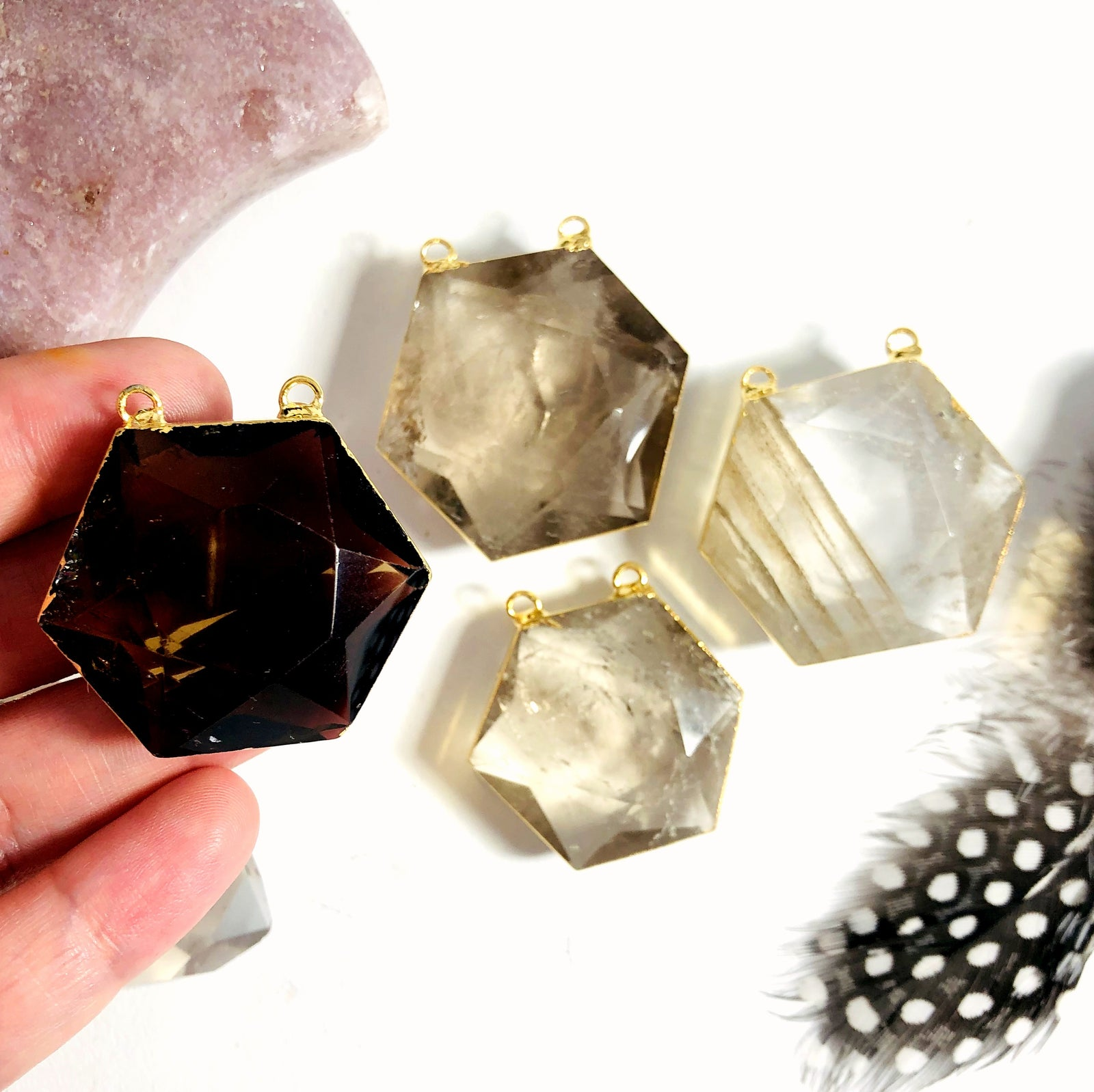 Smokey Quartz Hexagon Double Bail Pendant  (S52B27b-16)