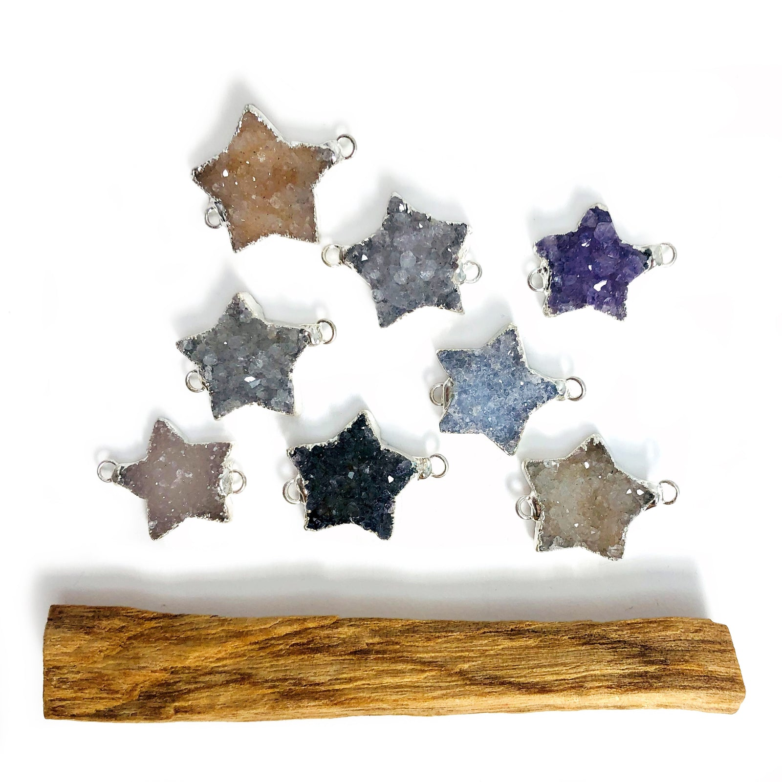 Druzy Star Double Bail Connector with Electroplated Silver Edges (S51B6-05)