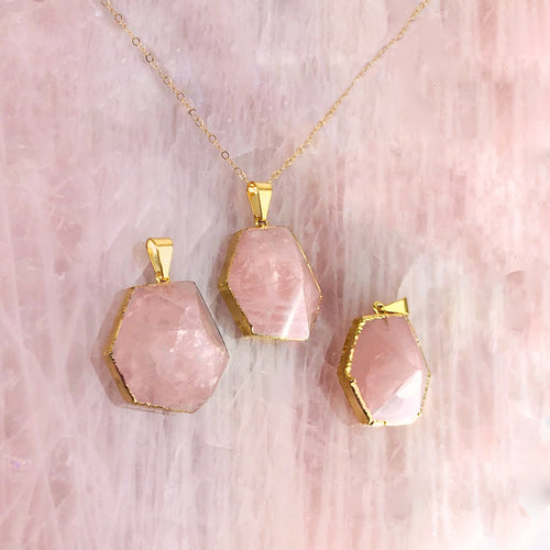 Rose Quartz Point Hexagon Pendant  (S34B27b-02)