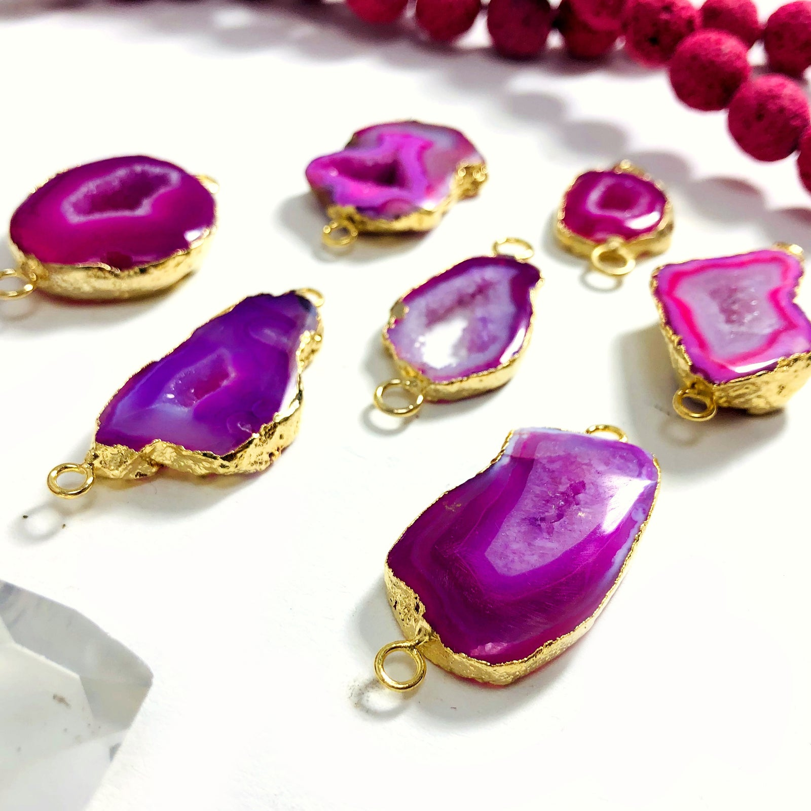 Pink Agate Druzy Connector Pendant in Electroplated 24k Gold Edge (S52B27b-13)