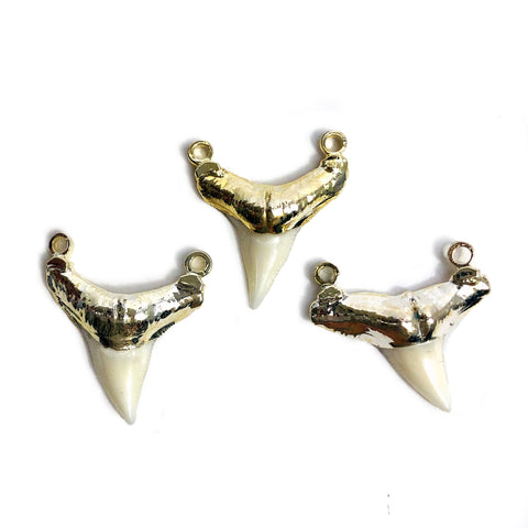 Shark Tooth Gray Pendant Connector Electroplated Gun Metal Cap (S35B21-12)