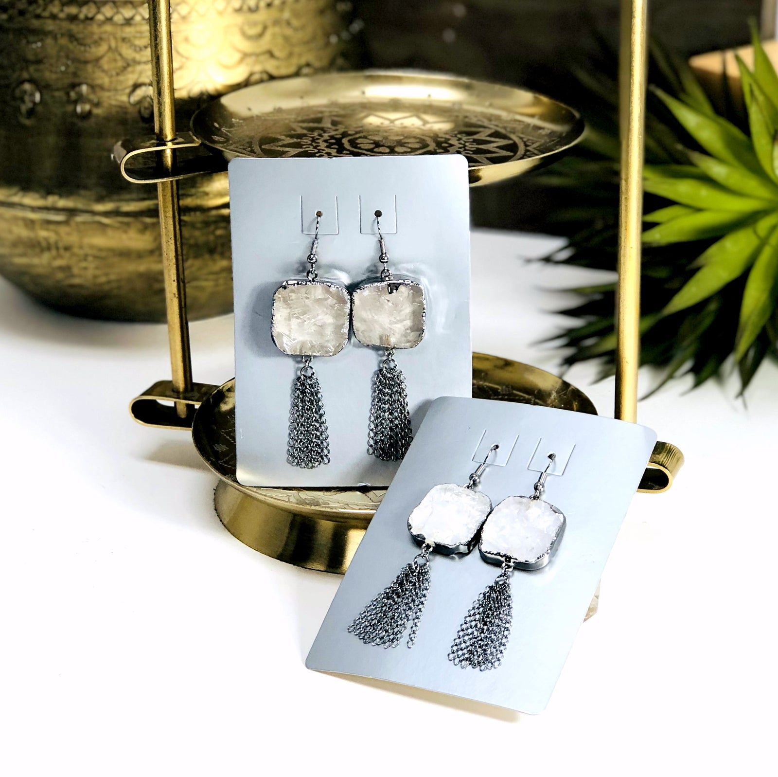 Crystal Quartz Drop Earrings with Tassel Chain in Electroplated Gun Metal (EBOX24-25)